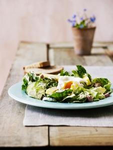 """Salat med skinke, ost, flødepeberrod og pocheret æg. Billedet og opskriften er fra min store bog """"Måltider"""" og fotografen Line Falck."""