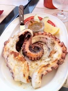 Enkel grillet banket blæksprutte nydt på taverna på Symi i Grækenland
